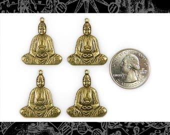 4 Antique Brass Buddha Charm-Pendants  * AB-C46