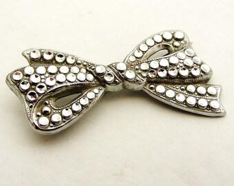 Vintage art deco silver tone Staybrite bow brooch