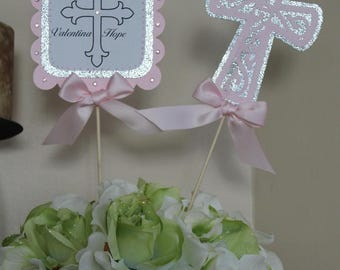 Baptism centerpiece picks