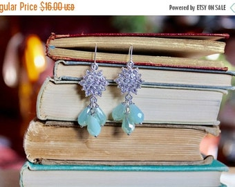 40% OFF CHRISTMAS SALE Sparkling silver rhinestone snowflake earrings with dangling ice blue tear drop beads, Across the Tundra