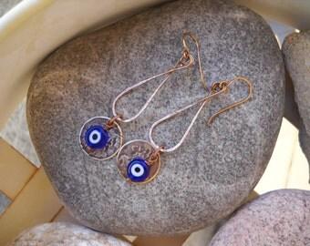 Cobalt Blue Evil Eye and Mixed Metal Dangle Earrings