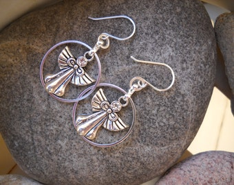Silver Rhinestone Angel Charm Earrings