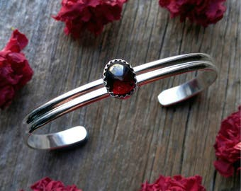 Sterling Silver Garnet Cuff Bracelet Red Stone Gemstone 925 Jewelry Adjustable January Birthstone
