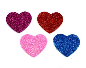 Medium Glitter Hearts 1.8 inch - Valentine Applique, Valentines Hearts, Glitter Hearts, Glitter Heart, DIY Valentines, Valentine Baby