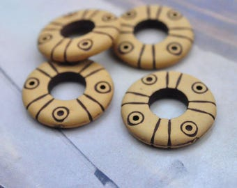 Ring, circle ring, plastic ring, flat round ring, antique ring connector, Round Flat Ring beads, plastic beads,Tribal Ethnic style 24x4mm
