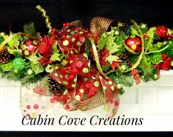 Christmas Mantel Garland Swag decorated red lime green gold Versatile STUNNING matching Wreath available by Cabin Cove Creations