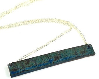 Textured Bar Necklace - Ceramic Handmade Jewellery - Blue Brown on Silver Chain Gifted in Handmade Jewellery Bag - Made in Australia