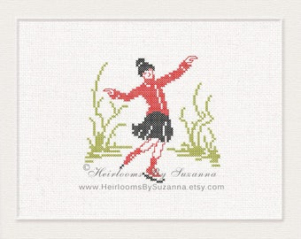 Old Fashioned Female Skater, Ice Skating Girl, Machine Cross Stitch Design, Machine Embroidery Design, Antique, Vintage Skater, Winter Sport