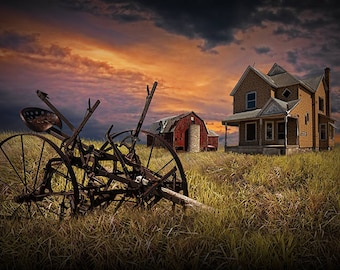 Decline of the Small Farm No.10 Abandoned West Michigan Farm at Sunset A Fine Art Agricultural Photograph