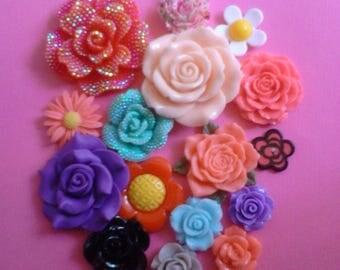 Sale sale---kawaii flower only cabochon decoden deco diy charms 16 pcs  #387    USA seller