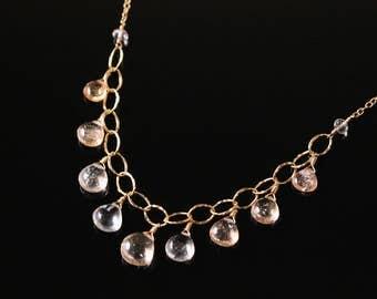 Oregon Sunstone Bib Necklace, Gold Filled, Wire Wrapped, Orange Gemstone, Adjustable Necklace, Mother's Day, Anniversary