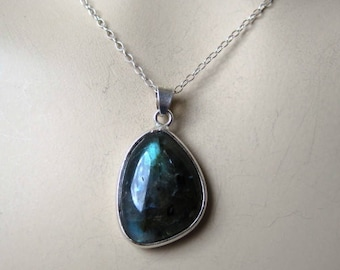 Blue Labradorite Pendant on Sterling Silver Necklace