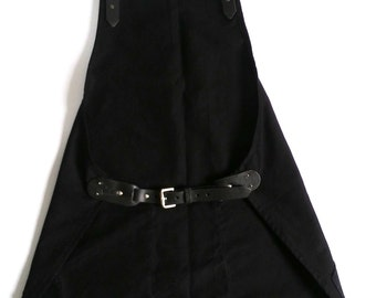 canvas apron,leather straps, removable,barista, restaurant