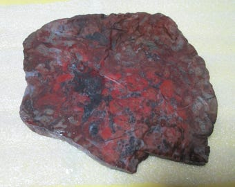 Red and Black Stramatolite Mary Ellen Jasper Cabbing Slab 4-1/2 x 4 x 1/4 Inch Thick