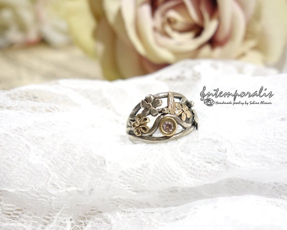 White bronze, silver color, ring decorated with gold bronze flowers and leaves and pink cubic zirconium, french size 54, OOAK, SABA26