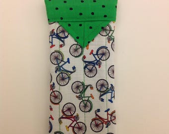 """Eyeglasses Case Fabric Quilted Snap Bicycles 3"""" X 6-1/2"""""""