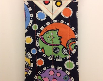 """Eyeglass Case Quilted Snap Cat 3-1/4"""" X 6-1/2"""""""