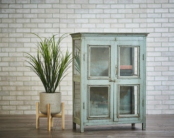 Bar Cabinet Salvaged Antique Indian Kitchen Cabinet Curio Cabinet Bookcase Boho Furniture Distressed Green Cabinet Moroccan Decor