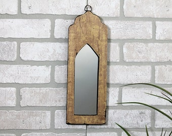 Moroccan Mirror Vintage Wood Framed Mirror Reclaimed Wood Wall Art Distressed Rich Creamy Yellow Color Wall Mirror Moroccan Decor Turkish