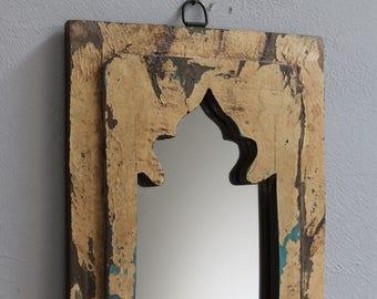 Moroccan Mirror Small Mirror Accent Mirror Mediterranean Colors Vintage Wood Mirror Light Blue Color Mirror Moroccan Decor Turkish Interior