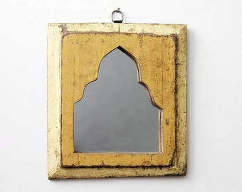 Moroccan Mirror Vintage Wood Framed Mirror Reclaimed Wood Wall Art Bright Yellow Wall Mirror Moroccan Decor Turkish