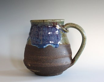 Coffee Mug, 17 oz, handthrown ceramic mug, stoneware pottery mug, unique coffee mug
