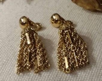 Sarah Coventry Tassel Earrings, Dangle, Gold, Clip On Earrings, Designer Sarah Coventry