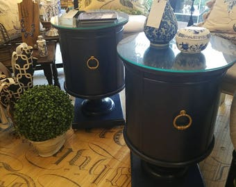 Pair of vintage mid-century end tables painted in high gloss navy.