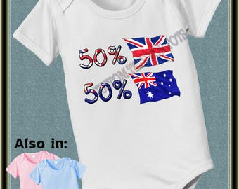 Baby 50 British 50 Australian parts country nationality flag one piece baby bodysuit, baby shower gift