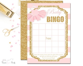 Tutu Baby Shower Bingo, Baby Bingo Shower Game, Tutu Baby Shower, Baby Shower Game, Baby Shower Girl, Baby Bingo Game, Ballerina Baby Shower