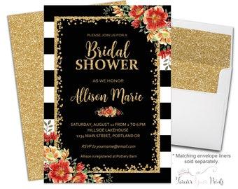 Bridal Shower Invitation Stripes Floral Bridal Invite Bridal Luncheon Bridal Brunch Bridal Tea Engagement Invite Black and White Stripes