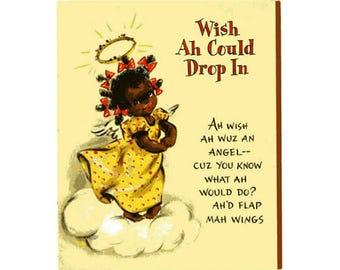 Vintage Original unused Greeting card Miss You- Black Americana
