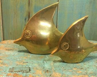 Brass Fish Family Vintage Set of Two Beach House Coastal Decor CastawaysHall READY TO SHIP