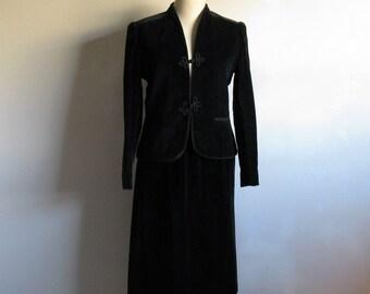 Vintage 1980s Black Velvet Suit Sasson Holt Renfrew 80s Cotton Plush Velvet Skirt Jacket 10