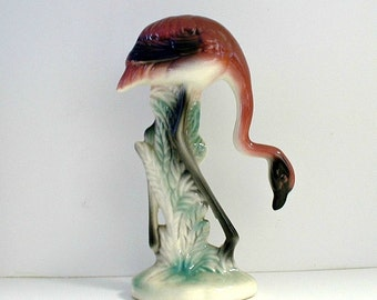 Vintage Flamingo Figurine Ceramic Mid Century Pink Black Green Florida Decor Statue Bent Neck Flamingo Tropical