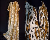 Terrycloth Leopard Animal Print Vintage 1970's Women's Bathing Suit Cover ROBE Caftan XL