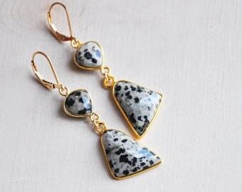 Long Dalmation Earrings, Dalmation Jasper Earrings, Dalmation Earrings, Jasper Earrings, Stone Earrings, Statement Earrings, Unique Earrings