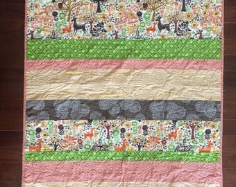 Woodland Crib Quilt, Baby Bedding, Woodland Baby Quilt, Crib Quilt, Forest Crib Bedding, Gender Neutral, Toddler Quilt, Deer Nursery,