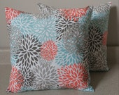 Set of 2 floral blooms pillow covers shams 16 x 16 coral gray teal taupe throw cushions Byram spring