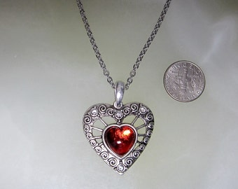 Filigree Heart Pendant With Optional Chain