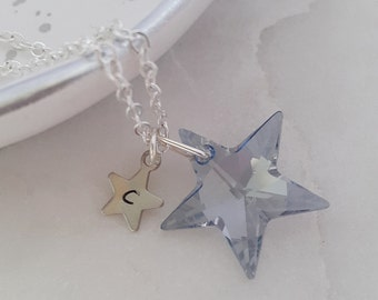 Twinkle -Powder Blue- Personalised Swarovski Star Necklace, Star Jewelry, Wedding, Christmas, Stocking Filler, Customise, birthday,