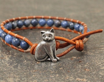 Leather Cat Jewelry Silver  Denim Blue Cat Bracelet