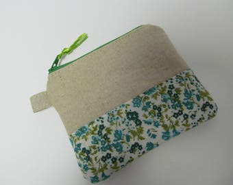 "Zipper pouch/4""x5""/Linen x Green Flower"