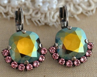 Olive Pink Silver drop earrings, Swarovski crystal earrings, Green pink Oxidized silver earrings, trending jewelry, gift for her, earrings.