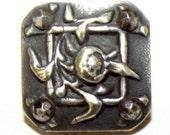 Antique Button Paris Back Modified Square Floral w/ Cut Steels
