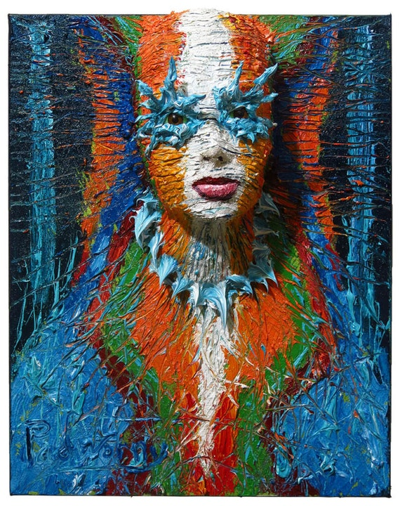 SOLD - Oil Paint on Stretched Canvas of 20 by 16 by 7 in./ Original oil painting large carving art sculpture portrait folk abstract