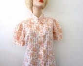 ON SALE 1970s Floral Print Blouse - cotton blend semi-sheer shirt -vintage prairie princess