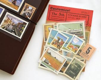 4 Sheets Korea Vintage Paper Deco Sticker Stamp Planner Stickers