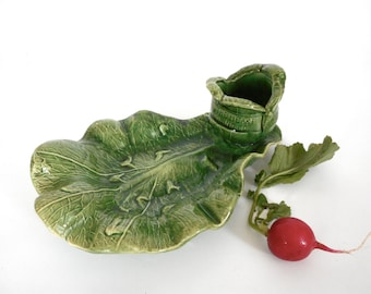 Vintage Cabbage Leaf Relish Dish w Dip Bowl Vacuum Cooling Advertising