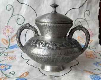 70% OFF MOVING SALE Stunningly Delicate Vintage Norway Pewter~061~Lidded Vase Jar~Decorative container